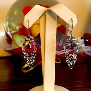 Sterling silver earring with Amethyst stones 925